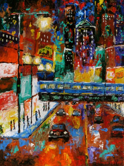 Night City Paintings Acrylic The At Prints